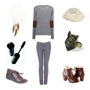 Zestaw z 30 październik 2011, składający się m.in. z Spodnie, Naszyjnik H&M, Botki H&M.