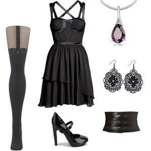 Zestaw z 28 luty 2012, składający się m.in. z Naszyjnik YES, Sukienka H&M, Kolczyki  Orsay.