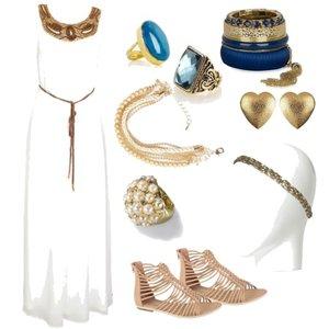 Zestaw z 13 kwiecień 2012, składający się m.in. z Sukienka H&M, Bransoletka Cropp, Pierścionek New Yorker.