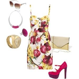 Zestaw z 24 maj 2012, składający się m.in. z Naszyjnik Kappahl, Buty Asos, Sukienka Dolce & Gabbana.