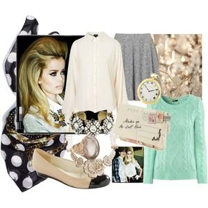 Zestaw z 18 październik 2012, składający się m.in. z Tusz do rzęs Dior, Baleriny Ryłko, Bluza Topshop.