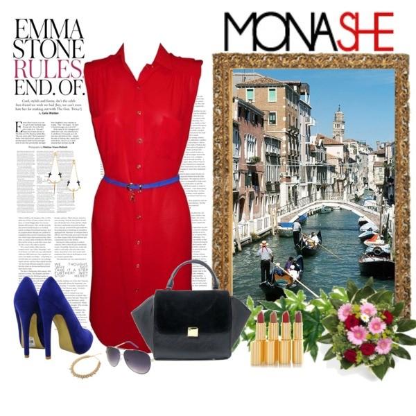Zestaw z 10 lipiec 2013, składający się m.in. z Okulary damskie Monashe, Sukienka Monashe, Akcesoria Monashe.