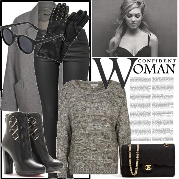 Zestaw z 16 listopad 2013, składający się m.in. z Torebka Chanel Vintage, Rękawiczki  Pepe Jeans, Płaszcz IKKS.