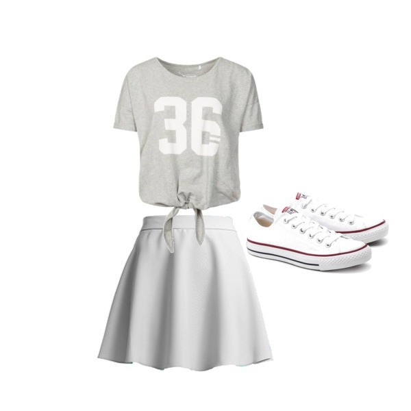 Zestaw z 19 maj 2014, składający się m.in. z T-shirt TWINTIP, Trampki Converse, Spódnica Ivon.