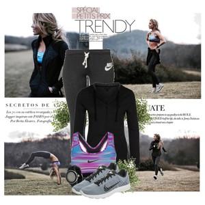 Zestaw z 14 luty, składający się m.in. z Biustonosz sportowy Nike Performance, Spodnie sportowe Nike Sportswear, Bluza Vans.