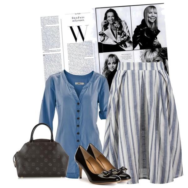 Zestaw z 12 czerwiec 2016, składający się m.in. z Czółenka  Wittchen, Bluzka bonprix, Spódnica Glamorous.