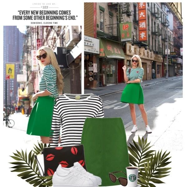 Zestaw z 24 sierpień 2016, składający się m.in. z Okulary damskie Quay, Torebka Only, Spódnica Marc O'Polo.