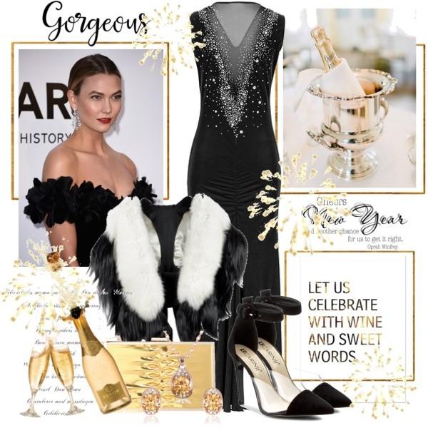 Zestaw z 29 grudzień 2016, składający się m.in. z Szpilki  Carinii, Sukienka bonprix, Komplet biżuterii murrano.