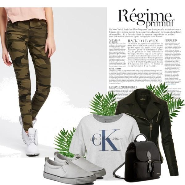 Zestaw z 23 marzec, składający się m.in. z Kurtka, Trampki Calvin Klein Jeans, Spodnie Cropp.