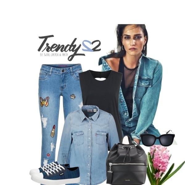 Zestaw z 30 marzec, składający się m.in. z Jeansy bonprix, Trampki Vices, Okulary damskie Prima Moda.