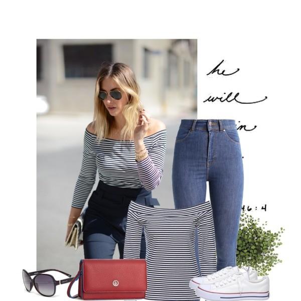 Zestaw z 30 marzec, składający się m.in. z Torebka Armani Jeans, Okulary damskie Polaroid, T-shirt bonprix.
