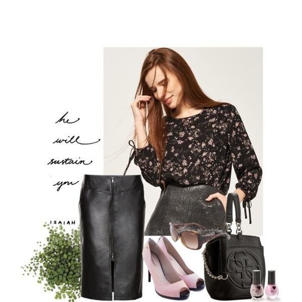 Zestaw z  2 kwiecień, składający się m.in. z Spódnica bonprix, Szpilki  Monnari, Okulary damskie VOGUE Eyewear.