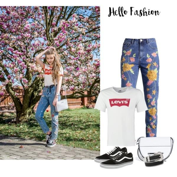 Zestaw z 21 maj, składający się m.in. z T-shirt Levis, Trampki Vans, Torebka Calvin Klein Jeans.