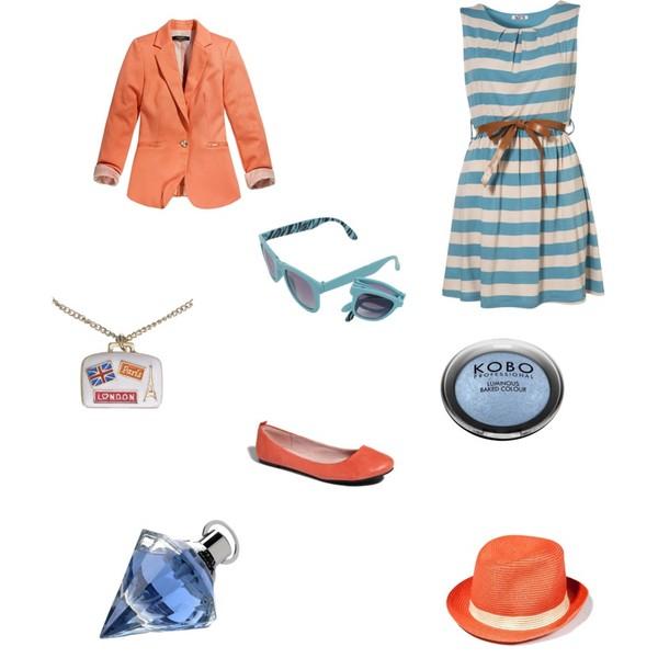 Zestaw z  9 sierpień 2012, składający się m.in. z Produkt do pielęgnacji Douglas, Sukienka Topshop, Naszyjnik Accessorize.