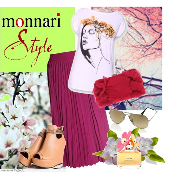 Zestaw z 19 kwiecień 2013, składający się m.in. z Spódnica Monnari, Okulary damskie Ray-Ban, Buty Oasap.