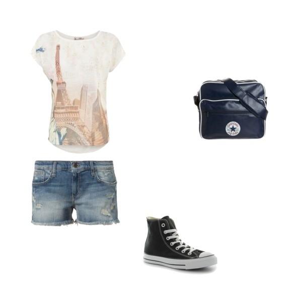 Zestaw z 30 kwiecień 2013, składający się m.in. z Szorty Joes Jeans, T-shirt NEW LOOK, Torebka Converse.