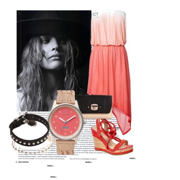 Zestaw z 18 maj 2013, składający się m.in. z Buty Geox, Sukienka Next, Zegarek Triwa.