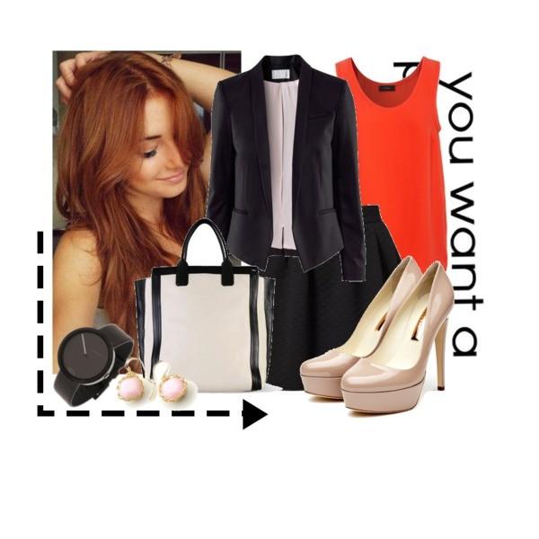 Zestaw z 21 styczeń 2014, składający się m.in. z Marynarka H&M, Spódnica DEBY DEBO, Zegarek Nava.