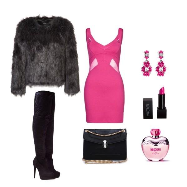 Zestaw z  4 luty 2014, składający się m.in. z Kolczyki  sweet deluxe, Sukienka Finders Keepers, Marynarka Unreal Fur.