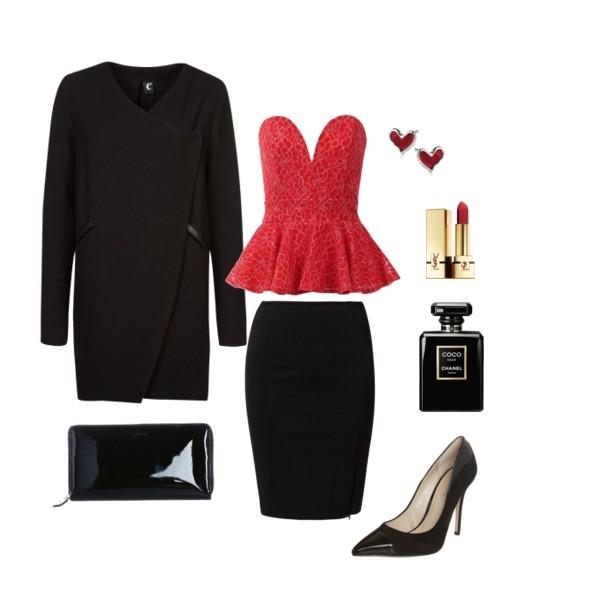 Zestaw z  4 luty 2014, składający się m.in. z Spódnica Patrizia Pepe, Perfumy Chanel, Płaszcz C'est tout.