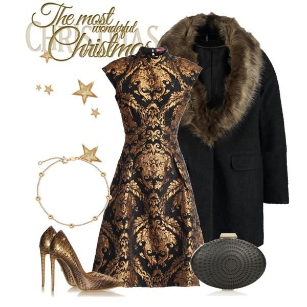 Zestaw z 21 grudzień 2016, składający się m.in. z Sukienka Chi Chi London, Płaszcz Dorothy Perkins, Szpilki  Kazar.
