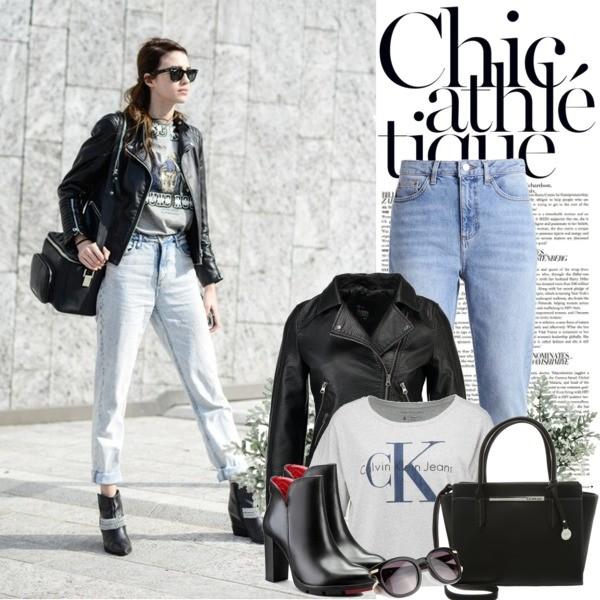 Zestaw z  2 marzec, składający się m.in. z Jeansy Topshop, Kurtka Even&Odd, T-shirt Calvin Klein Jeans.