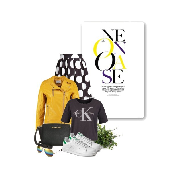 Zestaw z  5 kwiecień, składający się m.in. z T-shirt Calvin Klein Jeans, Trampki Adidas, Torebka Michael Kors.