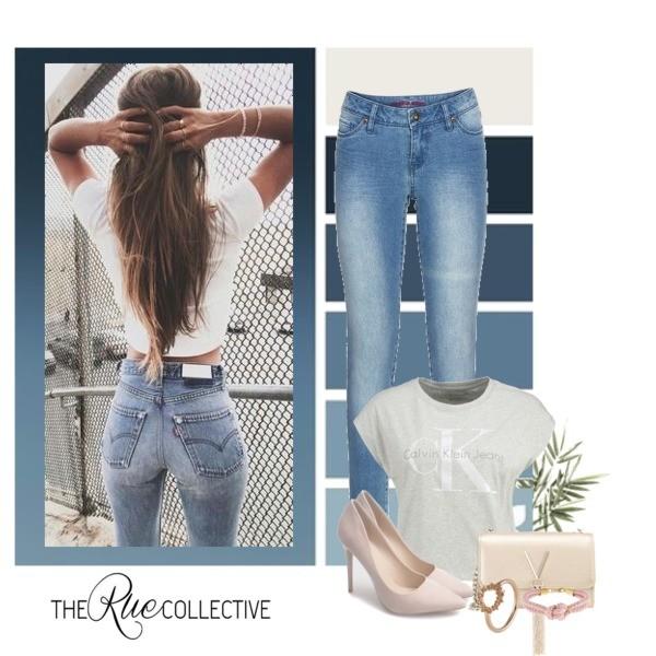 Zestaw z 14 kwiecień, składający się m.in. z Szpilki  Gemre, Pierścionek Pieces, T-shirt Calvin Klein Jeans.