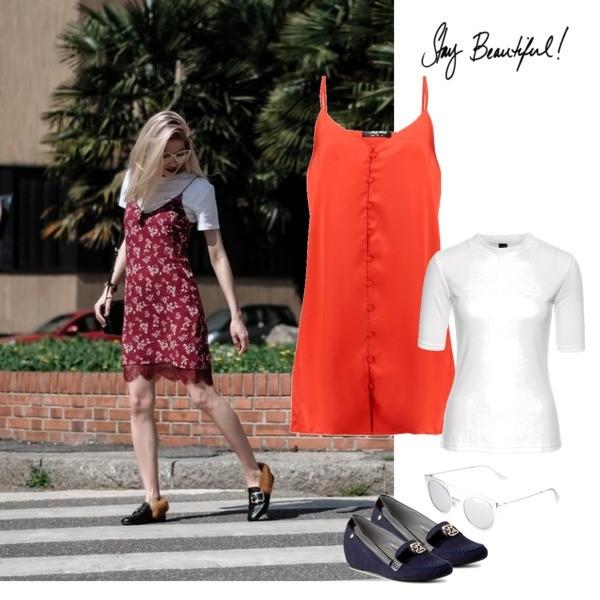 Zestaw z 23 czerwiec, składający się m.in. z Sukienka Fashion Union Petite, T-shirt bonprix, Półbuty  Maciejka.