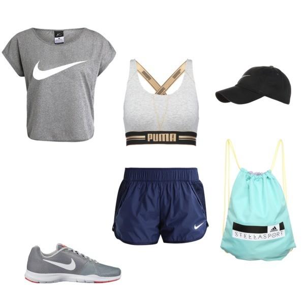 Zestaw z 13 lipiec, składający się m.in. z Biustonosz Puma, Czapka Nike Sportswear, Buty sportowe Nike.