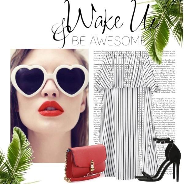 Zestaw z  6 sierpień, składający się m.in. z Torebka Dolce & Gabbana, Sukienka Fashion Union Tall, Sandały Even&Odd.