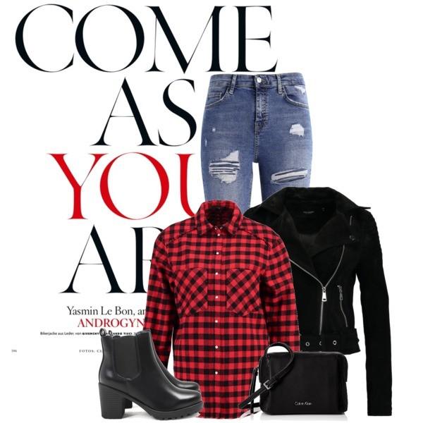 Zestaw z 21 wrzesień, składający się m.in. z Torebka Calvin Klein, Koszula Set, Jeansy Topshop.