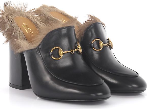 935942a521364 Gucci Klapki mule Princetown ze skóry czarne futro z kangura