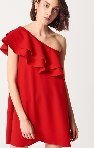 914f12cc49 Mohito - Sukienka na jedno ramię z falbanami - Czerwony