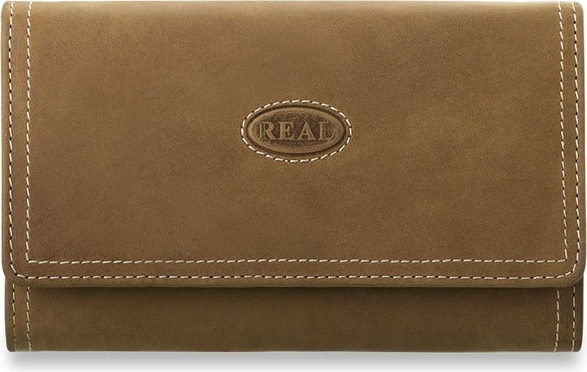 83d02476456cd 100 % skóra naturalna - real duży pakowny portfel damski - camel