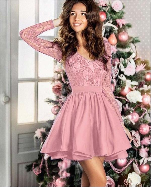 Niesamowite Rozkloszowana mini sukienka szyta z koła z koronkową górą Kolor FL16