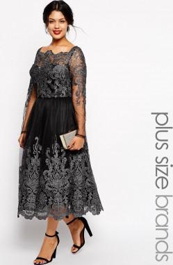 46195868e281 Chi Chi London plus size sukienka wieczorowa midi metaliczna koronka