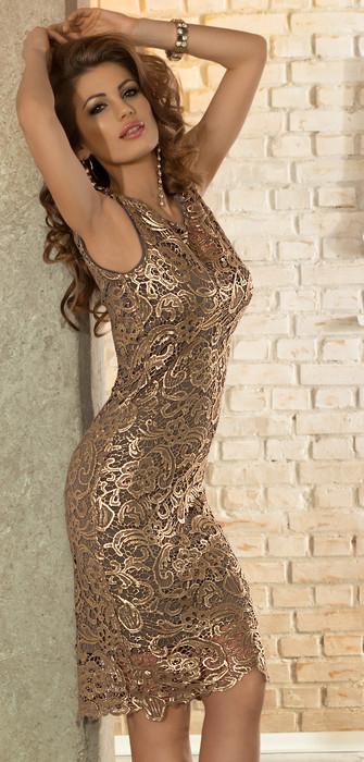 412e825c36 Elegancka koronkowa sukienka w kolorze starego złota Sukienka z gipiury  Model  BAS-833 BAS-833