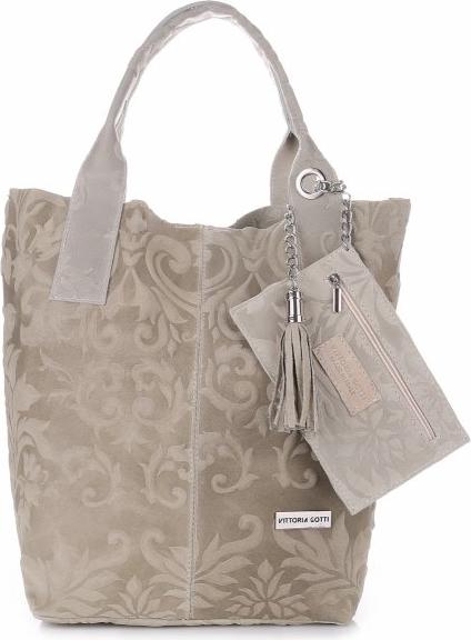 c1dbc9c44b45f Modna Torebka Skórzana Shopper Bag Renomowanej Firmy VITTORIA GOTTI Made in  Italy Beżowa