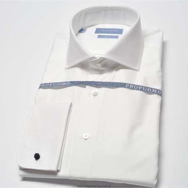 dce28628a07ceb Elegancka biała koszula męska taliowana (SLIM FIT) z włoskim kołnierzykiem  i mankietami na spinki