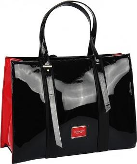 0c588647c4a2c Monnari torebka prostokąt lakier czarno-czerwona
