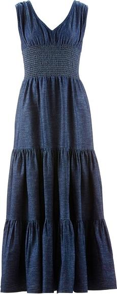 53a515cbd4 Długa sukienka dżinsowa bonprix ciemnoniebieski