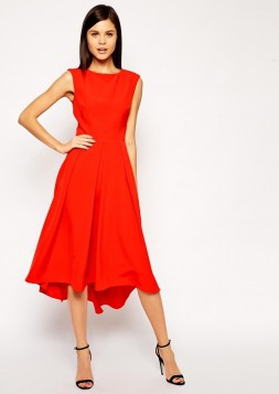 4417530bf7 ASOS sukienka wieczorowa midi rozkloszowana