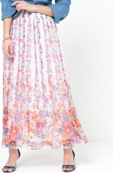 Zaawansowane Długa spódnica, woal z nadrukiem w kwiaty, z podszewką HN44