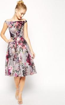 9edf2a944c ASOS sukienka wieczorowa midi piękne kwiaty bardotka