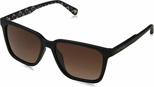 amazon.de Ted Baker okulary przeciwsłoneczne męskie Ive czarne (czarne/brązowe) 54.0