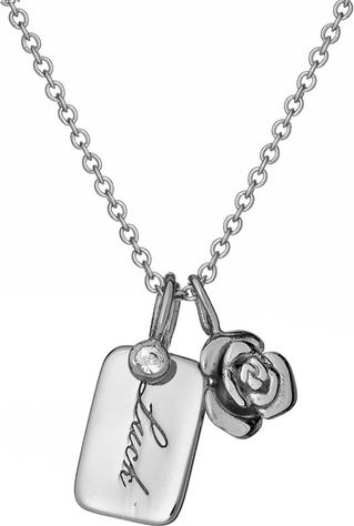 Ania Kruk Naszyjnik ROSALIE srebrny z różyczką i blaszką luck