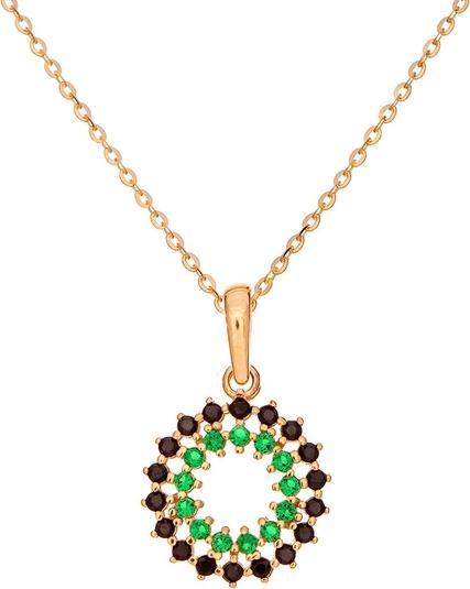 Ania Kruk Wisiorek ROYAL złoty rozeta z zielonymi i czarnymi cyrkoniami