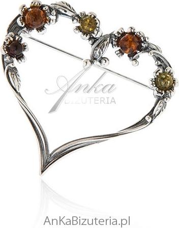 Anka Biżuteria Broszka srebrna z bursztynem Serduszko