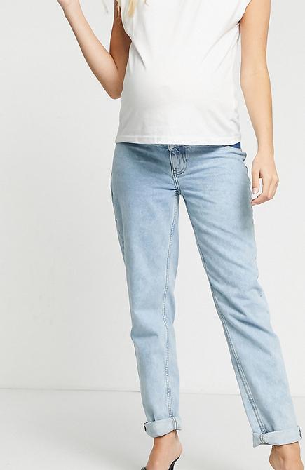 """ASOS DESIGN Maternity – Jasnoniebieskie mom jeans """"original"""" z wysokim stanem"""